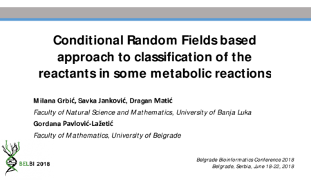 1.P6 Grbic – Conditional Random Fields based approach for classification of the reactants in some metabolic reactions