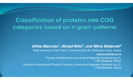 2.P5 Marovac – Classification of proteins into COG categories based on n-gram patterns
