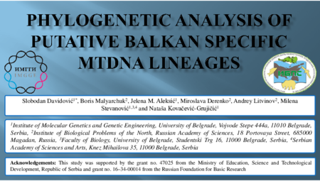 3.P10 Davidovic S – Phylogenetic analysis of putative Balkan specific mtDNA lineages