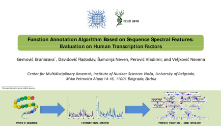 3.P3 Gemovic – Function Annotation Algorithm Based on Sequence Spectral Features: Evaluation on Human Transcription Factors