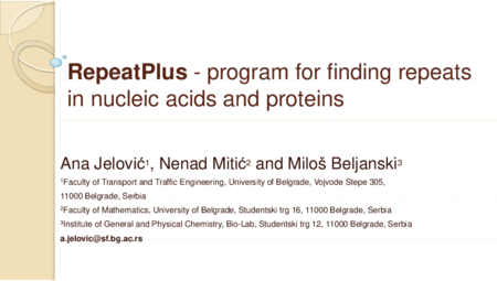 4.P6 Jelovic – RepeatPlus – program for finding repeats in nucleic acids and proteins